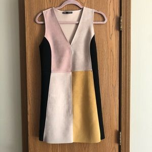 Zara Suede color block Dress